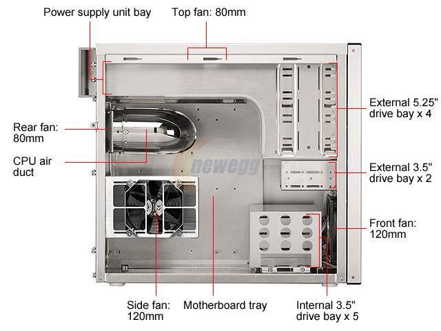 LIAN LI PC-60APLUSII W Silver Aluminum ATX Mid Tower Computer Case