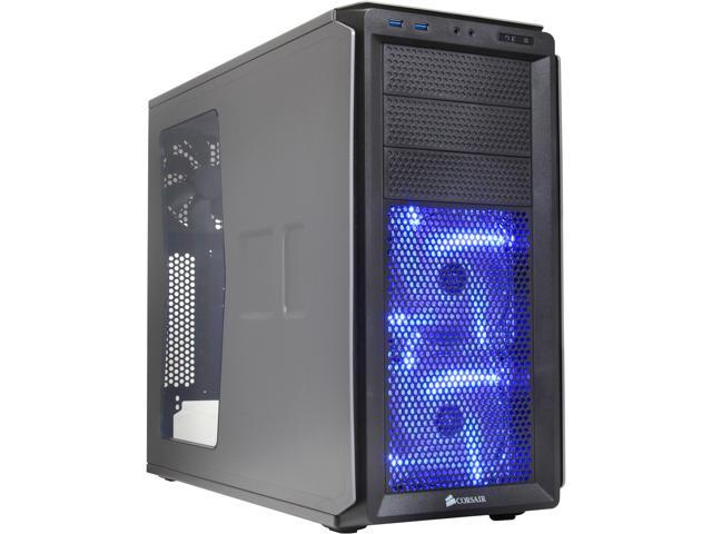 Corsair Graphite Series 230T CC-9011040-WW Grey on Black with BLUE LED fans ATX Mid Tower Computer Case