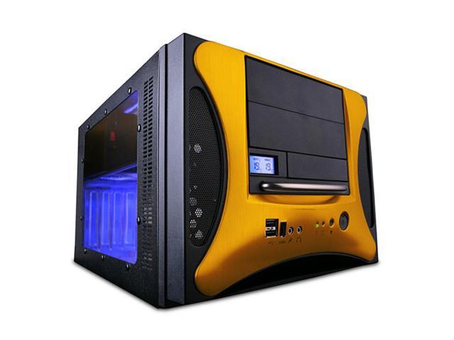 APEVIA X-QPACK2-GD/500 Black/ Gold Aluminum Body/ Front Mask MicroATX Desktop Computer Case 500W Power Supply