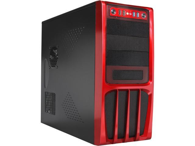 Rosewill R536-Red - Black, Hot-Dipped Galvanized Steel ATX Mid Tower Computer Case with Red Front Panel and 500W Power Supply