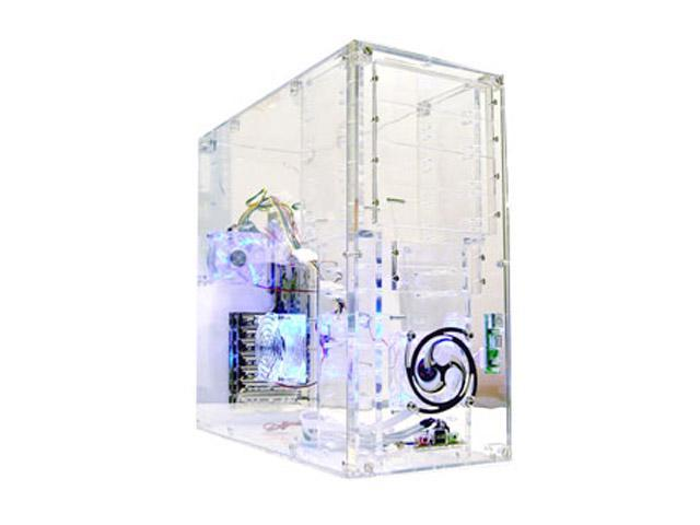 LOGISYS Computer CS888CL Transparent Clear Acrylic ATX Mid Tower Computer Case Pre-Assembled