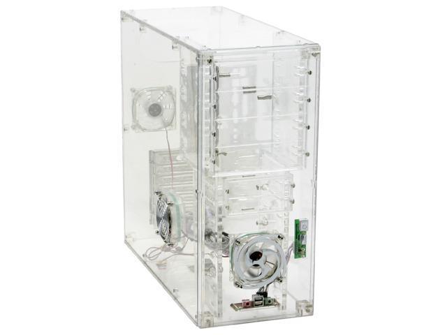 LOGISYS Computer CS888CL Transparent Clear Acrylic ATX Mid Tower Computer Case Pre-Assembled