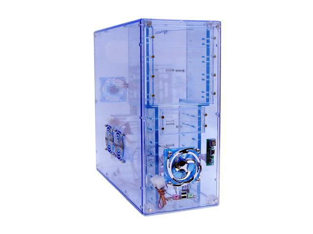 LOGISYS Computer CS888UVBL Blue Clear Acrylic ATX Mid Tower Computer Case Pre-Assembled