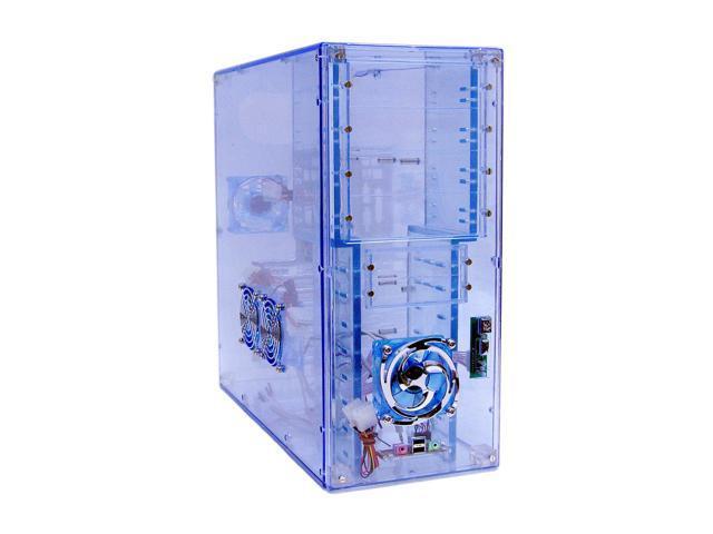 LOGISYS Computer CS888UVBL Blue Clear Acrylic ATX Mid Tower Computer Case Pre-Assembled