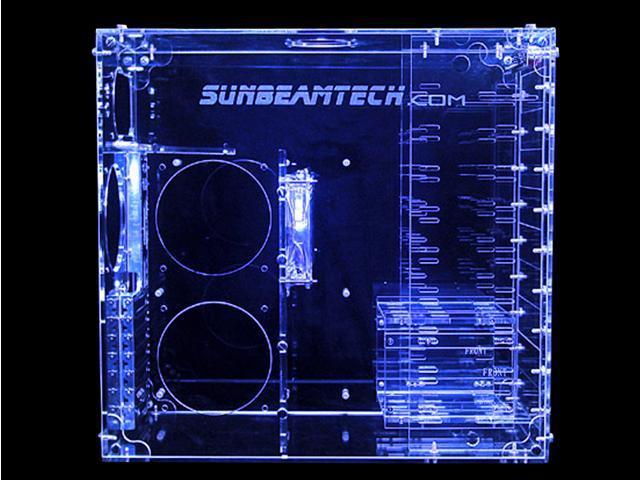 Sunbeam AC9B-HUVB Blue Clear Acrylic ATX Mid Tower Computer Case