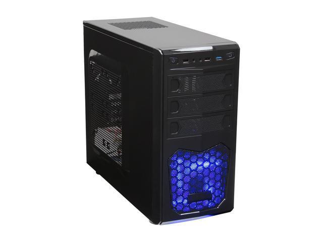 XION XON-560 mATX/ ITX Meshed Mini Tower Case, USB 3.0, Black/Blue LED