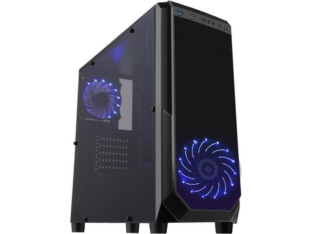 DIYPC VII-BK-15LEDlight Black SPCC Steel ATX Mid Tower Dual USB 3.0 Gaming Computer Case with Pre-installed 2 x Blue 15 LED Light Fans