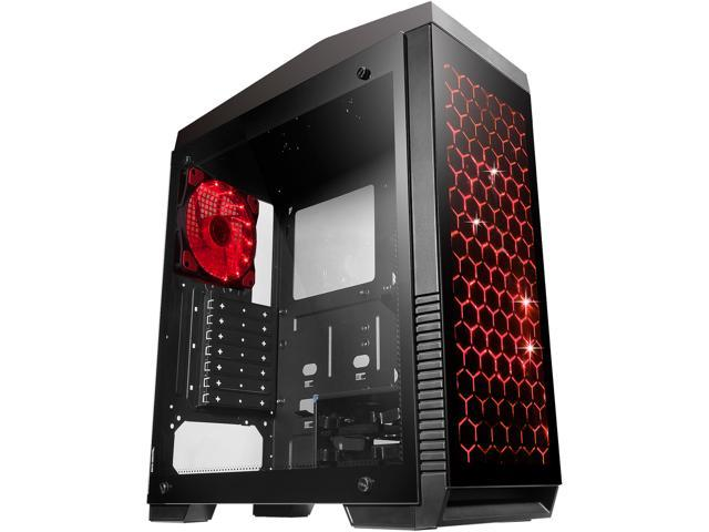 DIYPC DIY-G5-BK Black USB3.0 ATX Tempered Glass/Steel Mid Tower Gaming Computer Case w/Tempered Glass Panels (Front, Left and Right) and 7 Changeable Color RGB LED Strip, 1x 15LED Light Fan