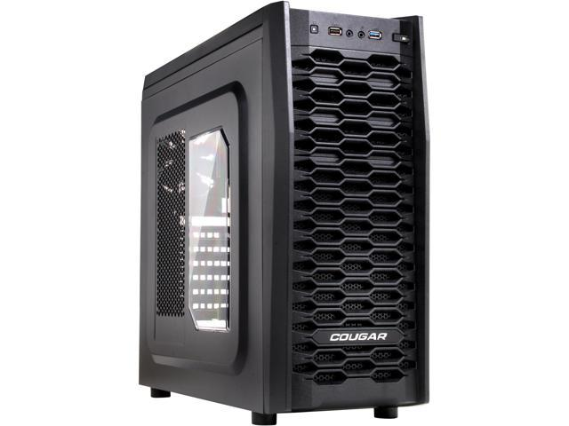COUGAR MX300 Black Steel ATX Mid Tower Computer Case with 1 x 12cm COUGAR TURBINE HYPER-SPIN Bearing Silent Fans and USB 3.0 Standard ATX PS2 ( optional ) Power Supply