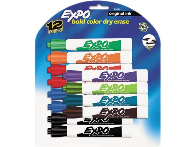 Sanford Expo Dry Erase Whiteboard Markerss, Chisel Tip, 12/Set, ST - SAN83087