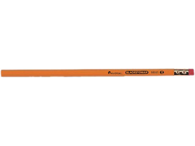 Universal Blackstonian Pencil, F #2.5, Medium Point Firm, Yellow Barrel, Dozen, DZ - UNV55525