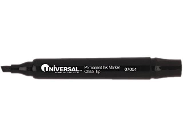 Universal Permanent Markers, Chisel Tip, Black, 12/Pack, DZ - UNV07051