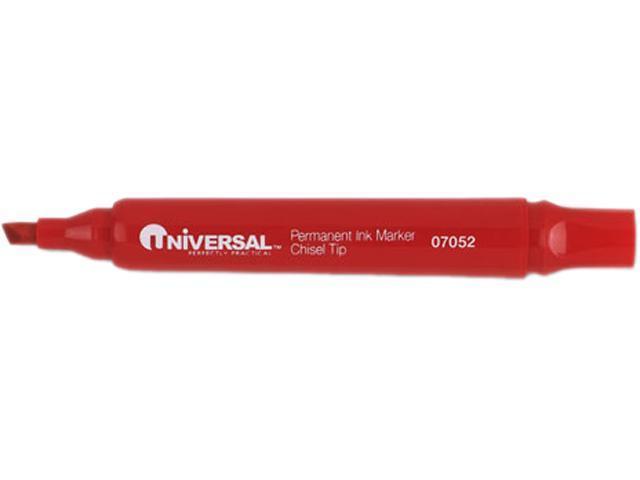Universal Permanent Markers, Chisel Tip, Red, Dozen, DZ - UNV07052