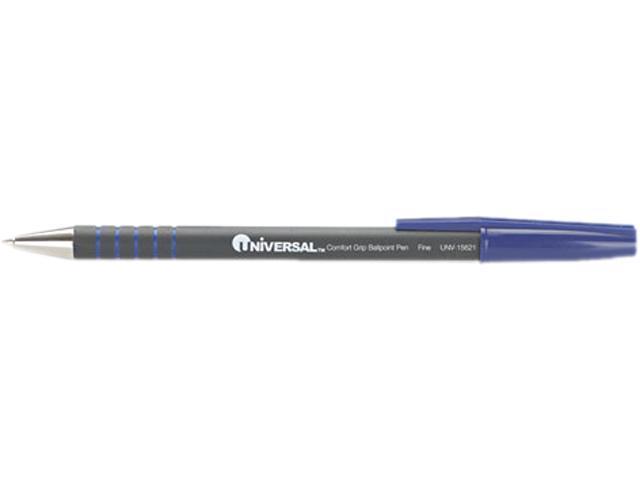 Universal Comfort Grip Ballpoint Stick Pen, Blue Ink, Fine Point, Dozen, DZ - UNV15621