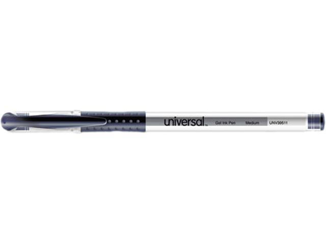 Universal Roller Ball Stick Gel Pen, Blue Ink, Medium Point, Dozen, DZ - UNV39511