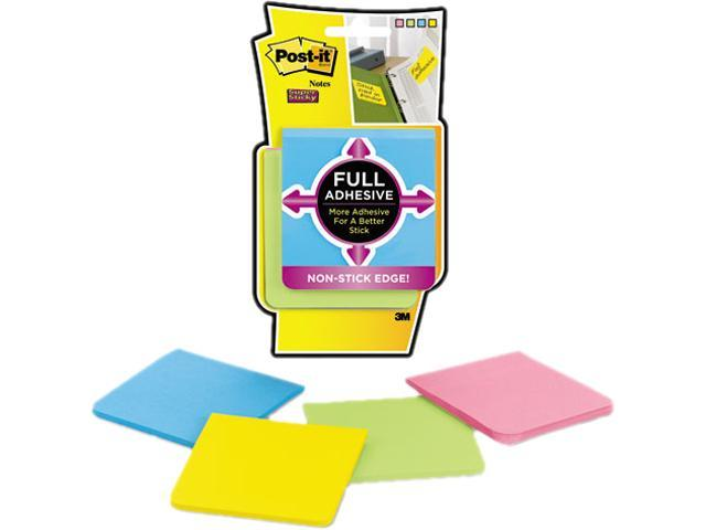 Full Adhesive Notes, 3 X 3, Assorted Bright Colors, 4/Pack