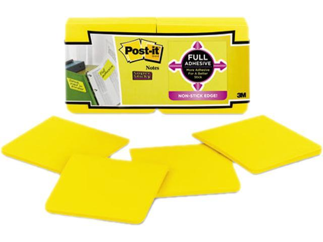 Full Adhesive Notes, 3 X 3, Electric Yellow, 12/Pack