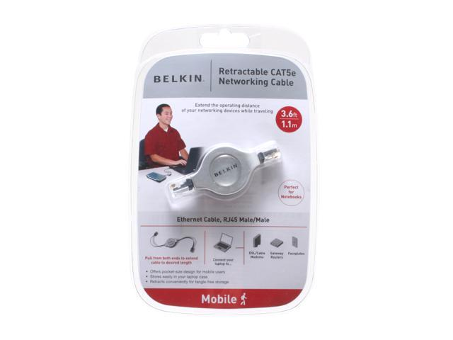 BELKIN A3L791v3.7-RTC 3.6 FT Cat 5E Black Retractable Networking Cable, RJ45/RJ45