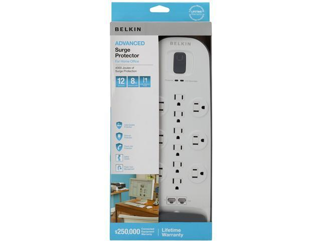 BELKIN BV112234-08 8ft 12 Outlets 3996 j Surge with Ethernet, Cable/Satellite/Telephone Protection