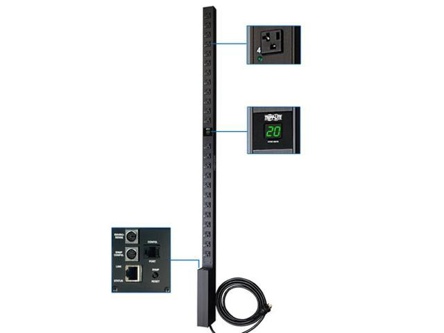 Tripp Lite Switched PDU, 20A, 24 Outlets (5-15/20R), 120 V, L5-20P/5-20P, 10 ft. Cord, 0U Vertical Rack-Mount Power, TAA (PDUMV20NET)