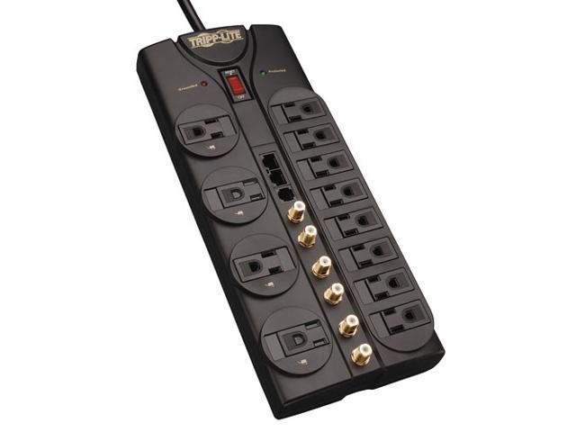 Tripp Lite HT1210SAT3 Home Theater Surge Protector, 2880 Joules, 12 Outlets, 3 Coax Tel DSL Enet, 10ft Cord