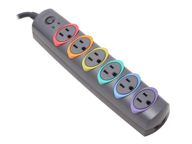 SmartSockets Color-Coded Strip Surge Protector 6 Outlets 8ft Cord 1260 Joules