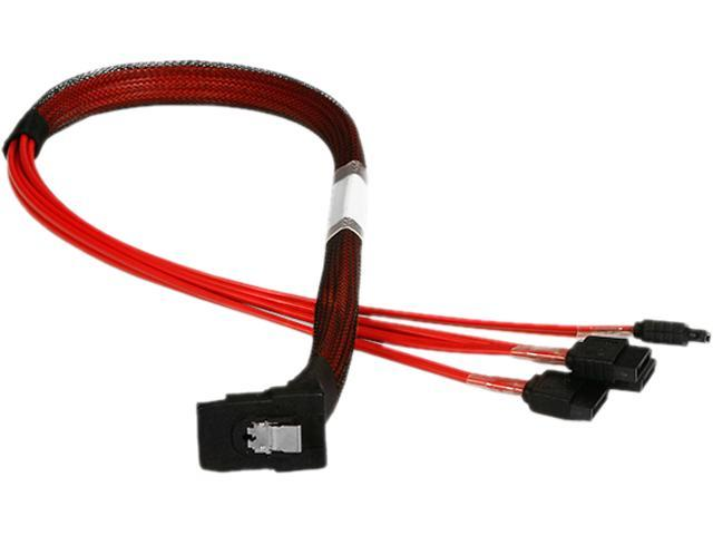 iStarUSA K-SF87RXSA-50 1.64 ft. miniSAS SFF-8087 Right Angle to 4x SATA Forward Breakout 50 cm Cable
