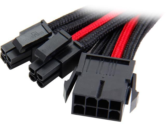 Silverstone PP07-EPS8BR 0.98 ft. Sleeved Extension Power Supply Cable with 1 x 8pin to EPS12V 8pin(4+4) Connector - Black/Red F-M