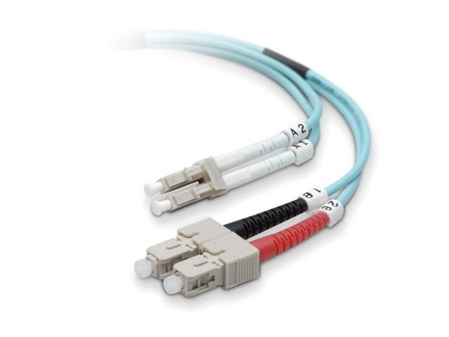 Belkin F2F402L7-03M-G Fiber Optic Cable&#59; 10GB Aqua Multimode LC/SC Duplex MMF, 50/125