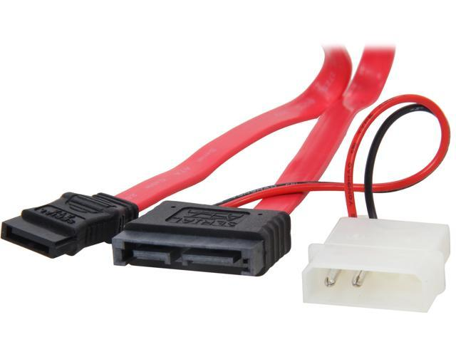 "StarTech SLSATAM20 20"" Slimline SATA Male to SATA with LP4 Power Cable"