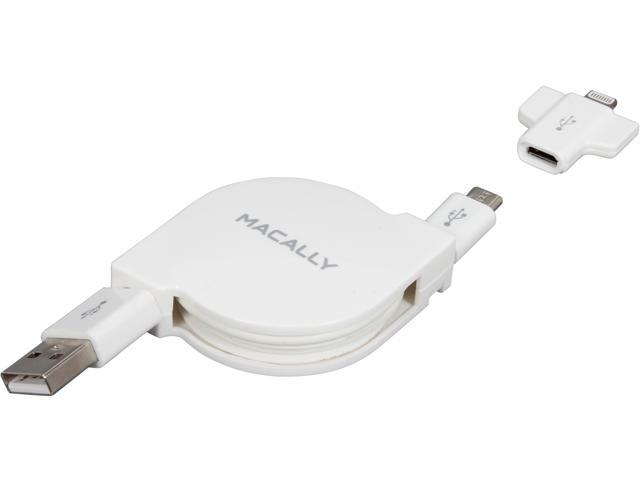 Retractable USB to Micro USB Cable with Lightning Adapter