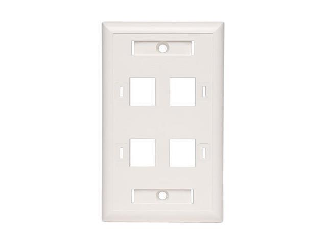 Tripp Lite N042-001-04-WH White Keystone Faceplate - 4 Ports