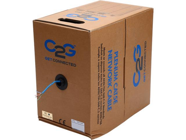 C2G 27340 1000 ft. Cat 5E Blue 350 MHz Solid Plenum-Rated Cable