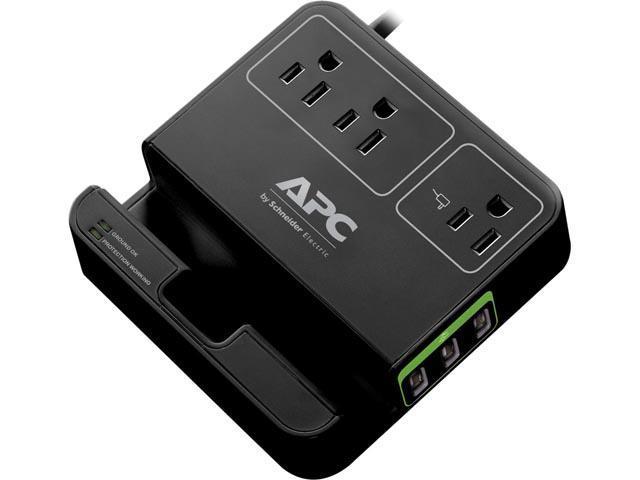 APC Essential SurgeArrest, 3 Outlets, 3 USB Charging Ports, 120V, Black