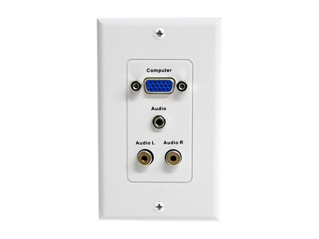 StarTech VGAPLATERCA 15-Pin Female VGA Wall Plate with 3.5mm and RCA -White