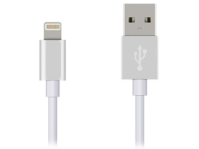 [Apple MFi Certified] Coboc Premium Soft-touch White 6ft 8-Pin Lightning to USB Charge and Sync Cable with Gray Aluminum Connector Heads