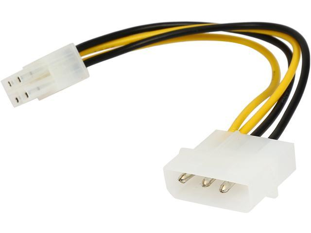 """Coboc LP4ATX4-6 6"""" 4 pin Molex LP4  to ATX 12V P4 4-Pin CPU Auxiliary Power Adapter Converter Cable,M/M"""