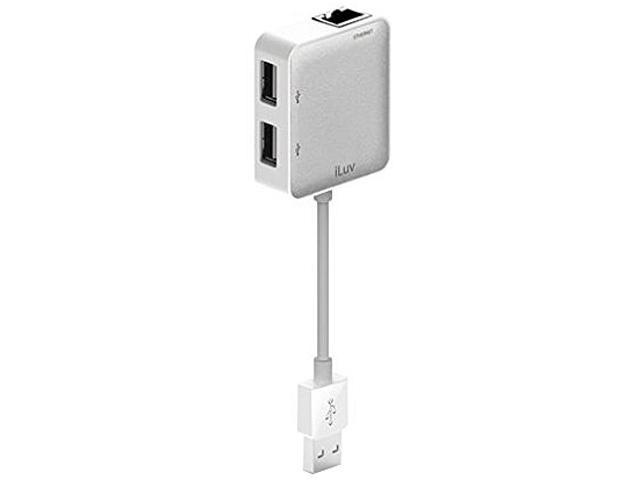 iLuv iCB708WHT USB Ethernet Adapter with 2 USB Ports