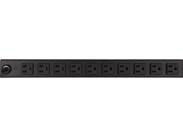 Delta PD1215-RM Basic 1U 15 ft Rack Mount Power Distribution Unit, 12 Outlets (2 Front and 10 Rear)