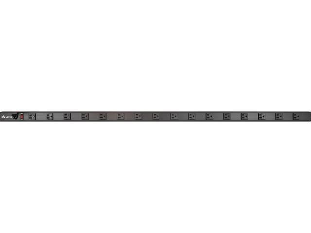 Delta PDU1615-VM Basic 1U 15 ft Zero U Verticle Rack Mount PDU, 16 Outlets, 15A, Circuit Breaker