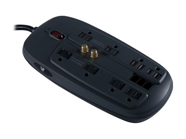 V7 SA0806B-8N6 6 ft. 8 Outlets 1800 Joules Home/Office Surge Protector