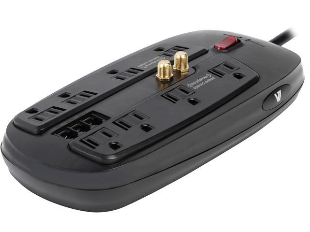 V7 6 Feet 8 Outlets 1800 Joules Home / Office Surge Protector (SA0806B-8N6)