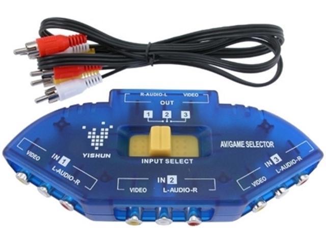 Insten 1044593 3 to 1 Composite AV Signal Switch w/ RCA AV Cable