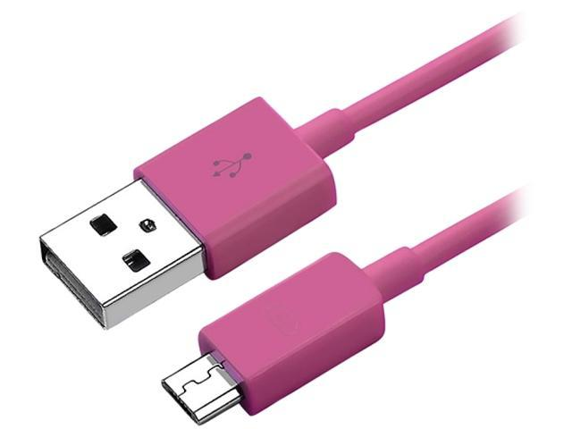Insten 1068223 3 ft. (91cm) Hot Pink 1X Universal Micro USB 2- in-1 Cable