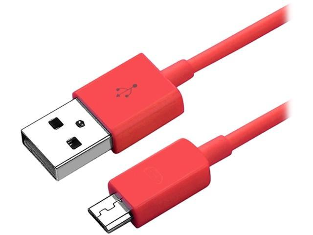 Insten 1131831 Red 1X Micro USB 2- in-1 Cable Compatible with Blackberry Z10