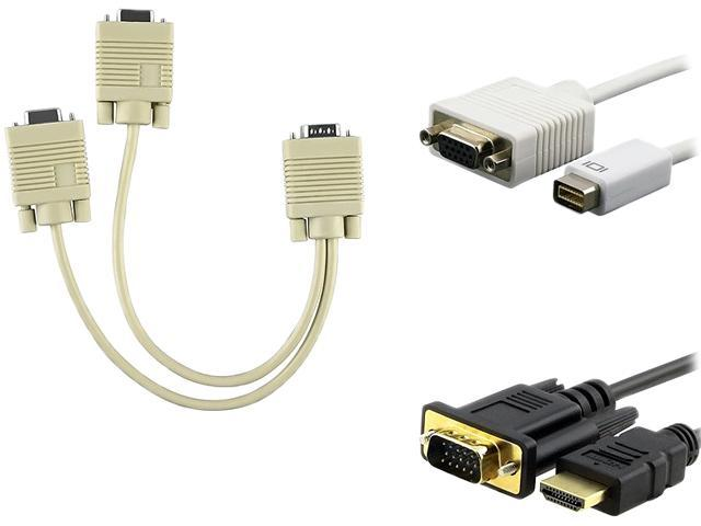 1ST PC CORP. 370262 Mini DVI to VGA DB15 Adapter w/ VGA Y-Split Cable & VGA to HDMI Cable