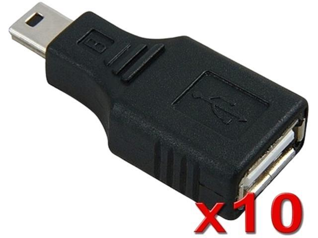 Insten 1182976 10 X USB 2.0 Type A to Mini USB 5-Pin Type B Female / Male Adapter