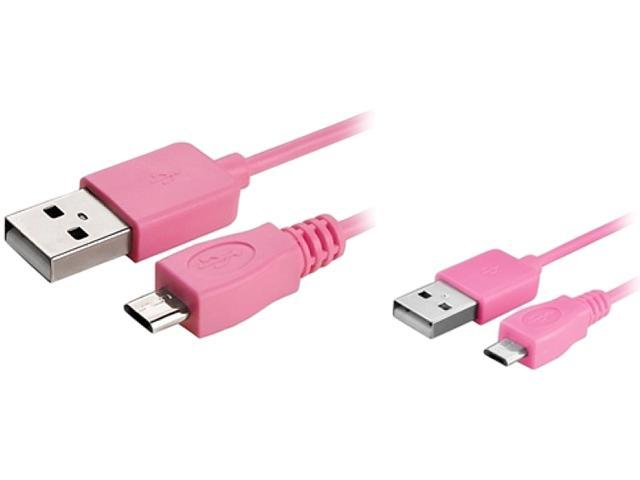 Insten 1542132 6 ft. Micro USB 2- in-1 Cable Pink