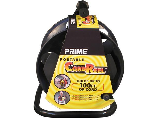 Prime Wire Model CR003000 100 ft. Portable Cord Reel With Metal Stand, Black, Holds 100-Ft of Cord
