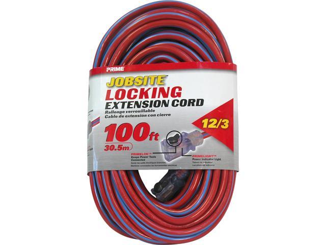 Prime Wire Model KCPL507835 100 ft. 12/3 SJTW Locking Cord, Red and Blue
